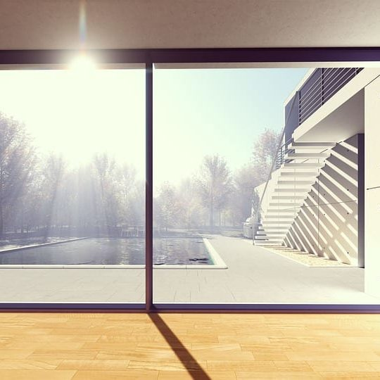 Large window with a pool side view